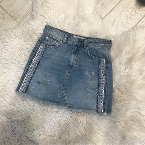 Beaded free people denim skirt